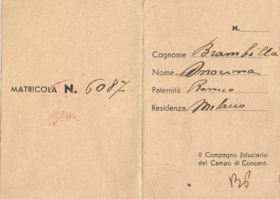 Tessera di Nori Brambilla di iscrizione al PCI del Lager di Bolzano